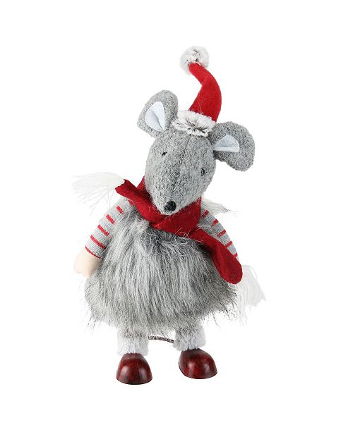 Northlight Fuzzy Gray Bouncy Bobble Action Mouse Christmas Figure Decoration