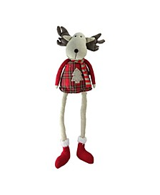 """19.75"""" Plaid Elk Sitting with Dangling Legs Tabletop Decoration"""