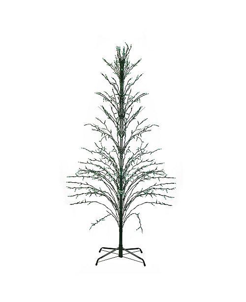 Northlight 4' Green Lighted Christmas Cascade Twig Tree Outdoor Decoration - Green Lights