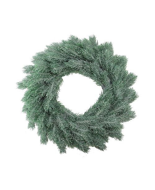 "Northlight 16"" Decoratively Frosted Green Pine Artificial Christmas Wreath- Unlit"