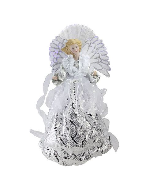 Northlight Lighted Fiber Optic Angel in White and Silver-Tone Sequined Gown Christmas Tree Topper