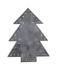 "19.75"" Large Pre-Lit Grey Christmas Tree Table Top Decoration"