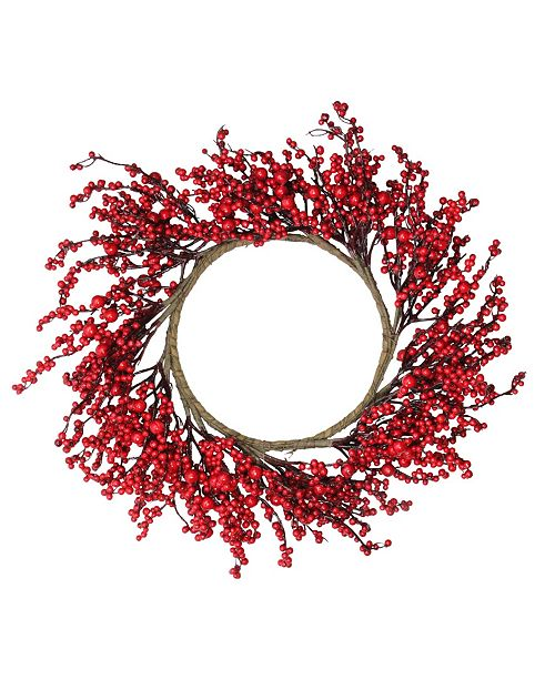 """Northlight 22"""" Festive Red Berries Artificial Christmas Wreath - Unlit"""