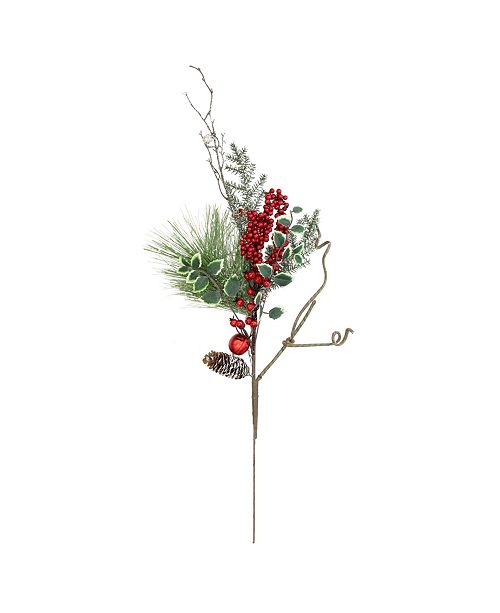 "Northlight 32"" Frosted Bells Berries and Pine Cones Artificial Christmas Spray Decoration"