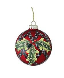 "4"" 100mm Holiday Moments Geometric Plaid Mistletoe Ball Glass Christmas Ornament"