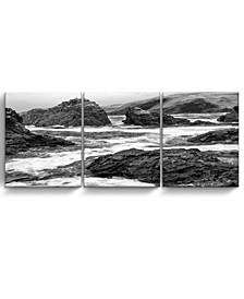 "Rock Cove 3 Piece Wrapped Canvas Coastal Wall Art Set, 20"" x 48"""