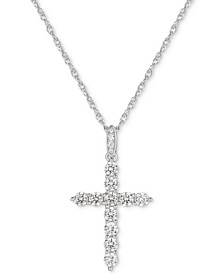 "Cubic Zirconia Cross 16"" Pendant Necklace in Sterling Silver"
