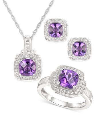 Sterling Silver Heart Topaz Amethyst Pendant Necklace Drop Earrings Set Gift Box