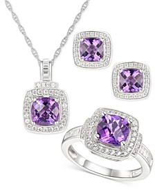 3-Pc. Set Amethyst (3-5/8 ct. t.w.) & White Topaz (1 ct. t.w.) Ring, Pendant Necklace & Stud Earrings in Sterling Silver