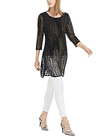 Burnout Foil Mesh Tunic Top Top, Created For Macy's
