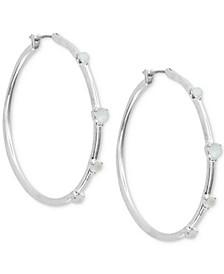"""Medium Silver-Tone Imitation Mother-of-Pearl Hoop Earrings 1-1/2"""""""