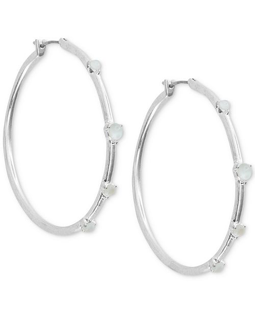 Lucky Brand Medium Silver-Tone Imitation Mother-of-Pearl Hoop Earrings 1-1/2""
