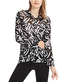 Petite Printed High-Low Blouse, Created For Macy's
