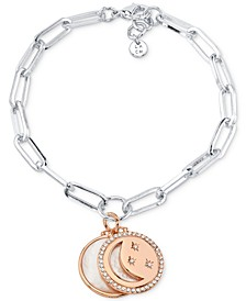 Mother-of-Pearl and Crystal Crescent Moon and Disc Charm Bracelet in Silver-Tone and Rose Gold-Tone Silver Plated Charms