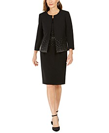 Jeweled Open-Front Jacket & Jeweled Sheath Dress