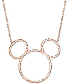 "Cubic Zirconia Mickey Mouse Outline Pendant Necklace in 18k Rose Gold-Plated Sterling Silver, 16"" + 2"" extender"