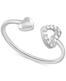 Crystal Heart Open Toe Ring in Fine Silver-Plate