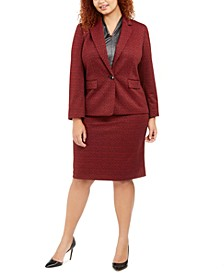 Plus Size Single-Button Jacquard Jacket, Metallic V-Neck Top & Jacquard Pencil Skirt
