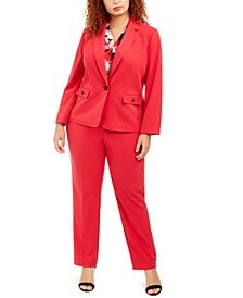 Plus Size Single-Button Stretch Blazer, Floral-Print V-Neck Top & Stretch Slim-Fit Pants