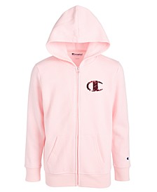 Big Girls Sequin-Logo Zip-Up Hoodie
