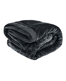 Silky Soft Plush Blanket with Corduroy Trim, King