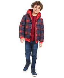 Big Boys Plaid Reversible Water-Resistant Hooded Puffer Jacket, Solid Thermal T-Shirt & Drawstring Moto Jeans, Created For Macy's