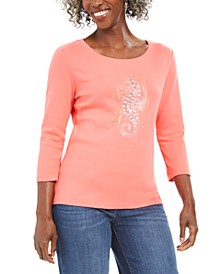Petite Cotton Embellished Seahorse Top, Created For Macy's