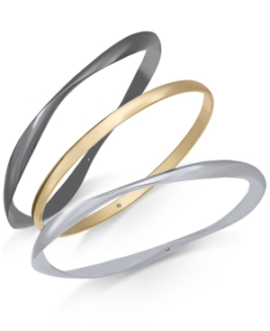 Alfani Tri-Tone 3-Pc. Set Pave Bangle Bracelets, Created For Macy's