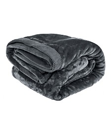 Elle Decor Silky Soft Plush Blanket with Corduroy Trim