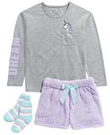 Big Girls 3-Pc. Unicorn Top, Faux-Fur Shorts & Socks Pajama Set