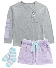 Big Girls 3-Pc. Unicorn Top, Faux-Fur Shorts & Socks Pajama Set