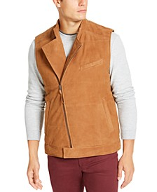 Men's Suede Asymmetrical Zip-Up Vest, Created For Macy's