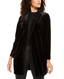 Petite Velvet Long Jacket, Created For Macy's
