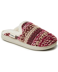 Women's Multi-color Chunky Knit Scuff Slippers, Online Only