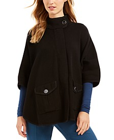 High-Neck Cape Sweater
