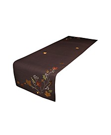 """Autumn Branches Embroidered Fall Table Runner, 70"""" x 16"""""""