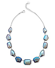 "Silver-Tone Multi-Stone Statement Necklace, 17"" + 2"" extender, Created For Macy's"