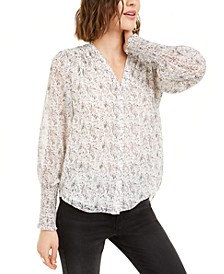 Printed Button-Front Sheer-Sleeve Top