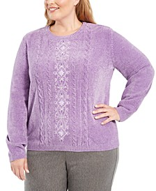 Plus Size Loire Valley Embroidered Chenille Sweater