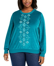 Plus Size Bright Idea Embellished Velour Top