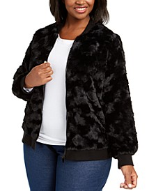 Plus Size Well Red Faux-Fur Bomber Jacket