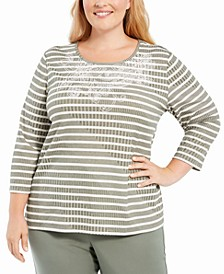 Plus Size Loire Valley Studded Striped Top