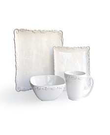 Jay Imports Bianca Wave White 16Pc Dinnerware Set