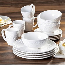 Jay Imports Bianca White 16Pc Dinnerware Set