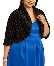 Plus Size Textured Faux Fur Shrug