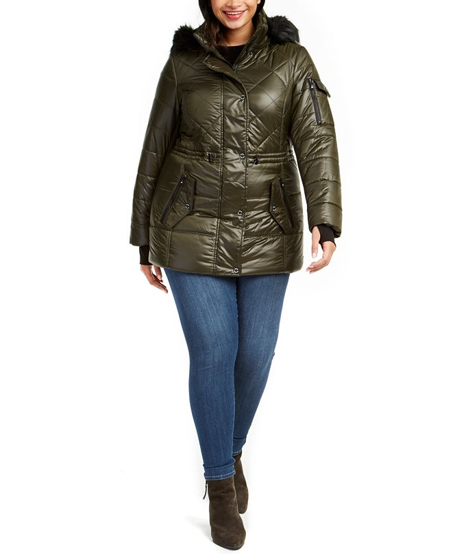 Michael Kors Plus Size Hooded Faux-Fur-Trim Puffer Coat