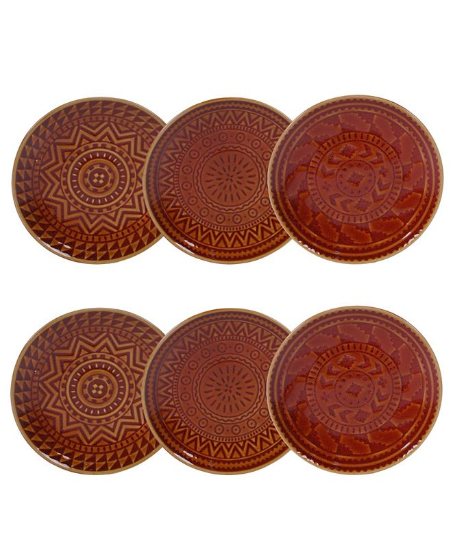 Certified International Aztec Rust 6-Pc. Canape Plates
