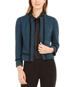 Anne Klein Jackets FRINGED-TRIM HERRINGBONE JACKET