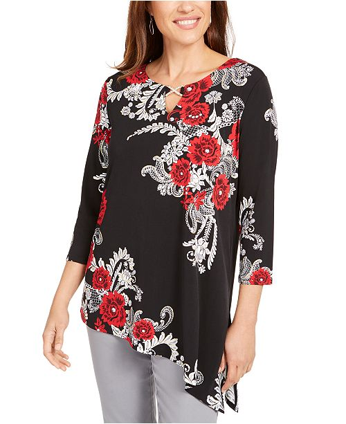JM Collection Embellished Asymmetrical-Hem Tunic, Created For Macy's