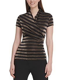 Metallic Striped Surplice-Neck Top
